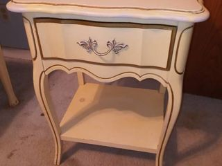 Vintage Dixie Furniture Company French Provincial Style Single Drawer Nightstand 24 x 18 x 15 in  Structurally Sound Furniture Needs Cosmetic Work