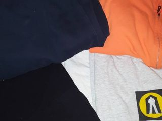 Mens T Shirts   Xl  and Sweat Pants l  and an Orange Sweat Jacket