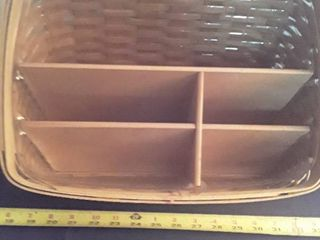 large longaberger Basket with plastic and wooden inserts