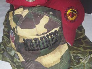 Camouflage Rain Poncho with 3 Marine Corps Hats