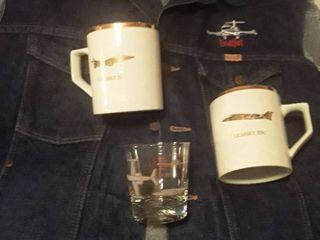 Men Jean Vest  learjet  size Xl with Coffee Mugs  learjet 31   55C  and Rocks Glass