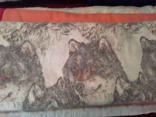 3 Blankets  Full Sized or Queen The peach   white colored blanket has a small hole