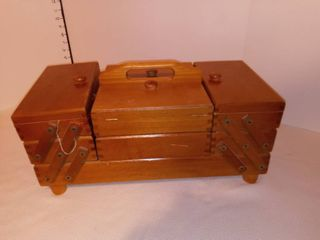 Wood Sewing Box with Contents