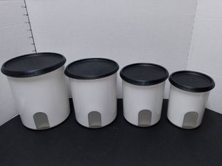 Tupperware Black and White Canister Set 8 Pieces
