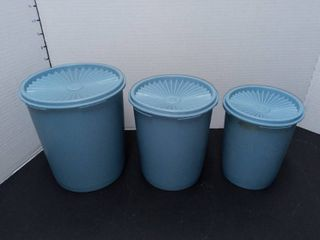 Tupperware Vintage Blue Canister Set 6 Pieces