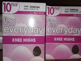 2 Boxes of Knee Hi s  10 pair per box and 1 box has been opened