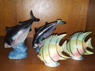 2 Sets of JAPAN Fish Salt and Pepper Shakers  One fish has a chipped fin