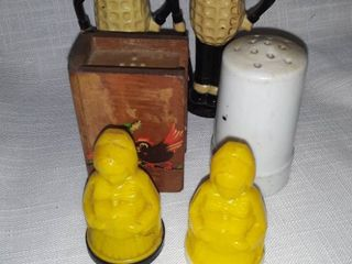 3 Sets of Salt and Pepper Shakers Mr  Peanut  2 mismatched and yellow are plastic