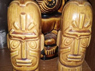 Otagiri Mercantile Company Vintage Tiki Salt and Pepper Shakers  Also a Tiki Cup