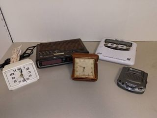 Phinney Walker Vintage Desk Alarm Clock and Midland Public Alert Weather Radio with Assorted Alarm Clocks