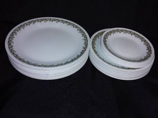 Corelle Spring Blossom Green by Corning Plates 33 Pieces