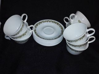 Corelle Spring Blossom Green by Corning Cups and Saucers  9 cups and 12 saucers