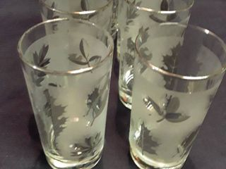 Set of 8 Drinking Glasses with Etched leaves  With Silver trimmed edge