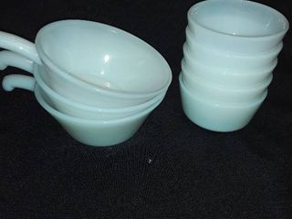 8 pcs  of Fire King Bowls   3 have handles