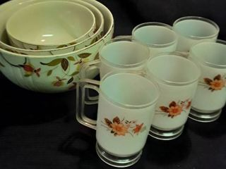 3 Halls Superior Bowls and 6 White Plastic Mugs