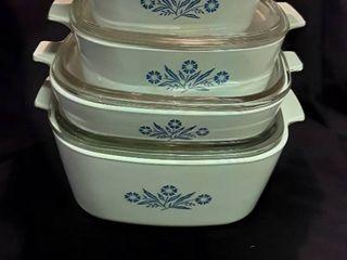 4 Different Sized Corning Ware Qt  Sizes  1 1 2 QT  to 4 QT  Pans with lids