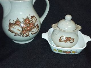 Corning Ware 1 3 4 cup and a Ceramic Tea Pot and a Sugar Dish