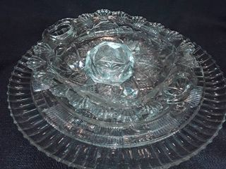 Miscellaneous Glass  2 Platters  a Candy Dish and a Candle Holder