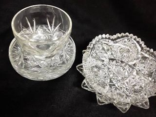 Miscellaneous Glass  4 Saucers a cup and 2 Candy Dishes