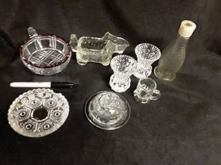 Miscellaneous Glass  9 pcs  Ashtray  Vinegar Bottle  Toorh pick Holders and other items