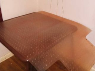 Brown Card Table 28 x 34 x 34 in with Plastic Office Chair Mat