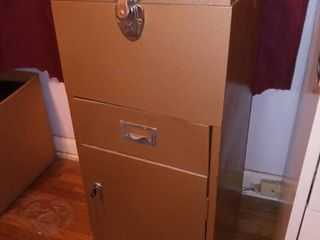 Vintage locking Metal Filing or Storage Cabinet 30 x 12 5 x 10 in with Key