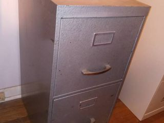 Vintage Gray Metal 2 Drawer Filing Cabinet 29 x 14 x 18 in