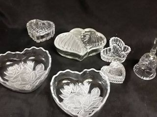 lot with Heart Shaped Items  A bell with hearts on it and a butterfly dish