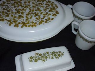 Corelle Spring Blossom Green by Corning Butter Dish  Covered Casserole Dish and 2 Mugs