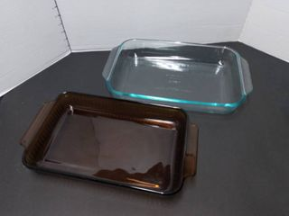 Pyrex and Anchor Hawking Glass Cake Pans