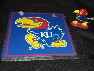 KU Plaque made of Slate and a KU Jayhawk Cast Iron Figurine