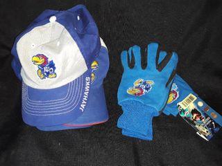 KU Baseball Hats  3  and KU Gloves  2 pair