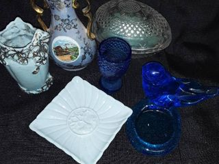 Cottier Freres Switzerland Vase and Miscellaneous Blue Glass and Blue Items