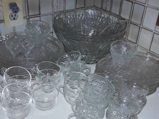 43 pcs Punch Bowls  2  and Snack Tray Sets  16  with cups  20  and small bowls  5
