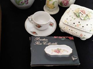 Small Tea Cup and Saucer from Occupied Japan and other random floral items