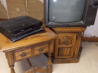 Wooden Hexagon End Table 21 x 28 x 28 in with Matching Side Table 21 x 22 x 26 in and 19 in SR TV and VCR