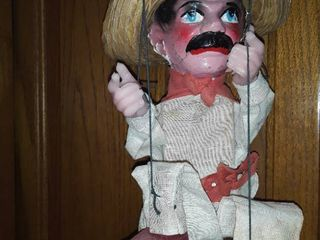 Marionette Doll  Approximately 14   15 in tall  Has damage to both ears and has a stain on back of shirt