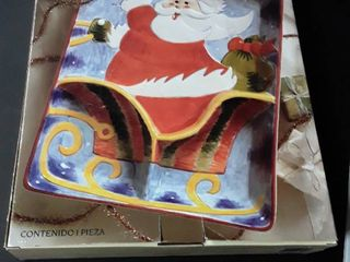 Chip and Dip Platter  Santa on Sleigh Ride