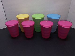 Tupperware Tumblers with lids for Straws lot of 7