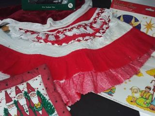 Christmas Tree Skirts  Hot Pad  Tree Topper and Window Clings