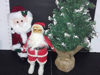 2 Santas  1 Vintage  Small Christmas Tree  Stands 24 in  tall  Plus 5 pkg  of Icicles