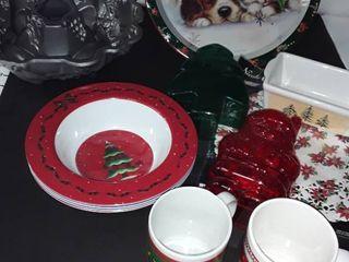 Christmas Bakeware and Mugs  Bowls and a Mold
