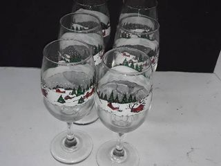 Christmas Wine Glasses 6 pcs