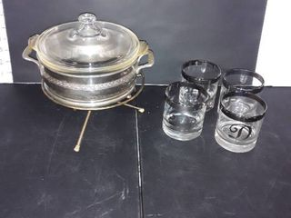 4 Rocks Glasses with letter D in Silver and A Casserole Dish on Stand
