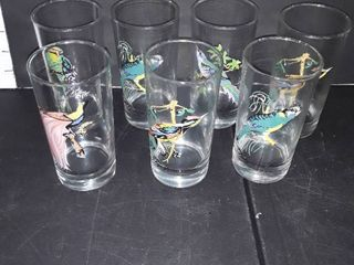 7 Water Glasses with Various Birds