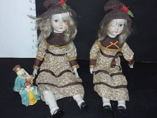 Set of Ceramic Dolls and 2 lady Figurines