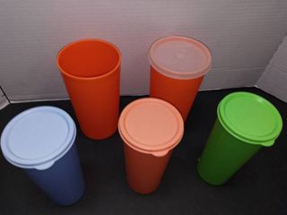 Vintage Tupperware Cups with lids One Missing lid lot of 5