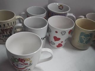 lot of Miscellaneous Coffee Mugs with Mug Tree and  4  2000 Millennium Champagne Glasses