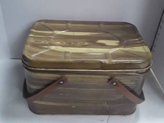 Metal Picnic Basket with all the needs for a picnic except for the food  Also comes with some extra plastic ware