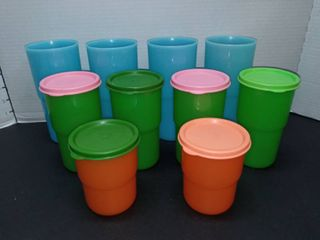 Vintage Tupperware Cups Some with lids lot of 10